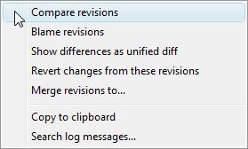 TortoiseSVN: compare revision