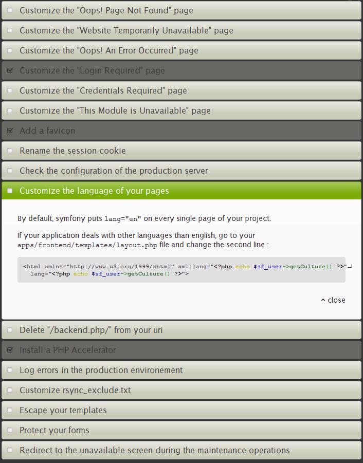 symfony-deployment-checklist